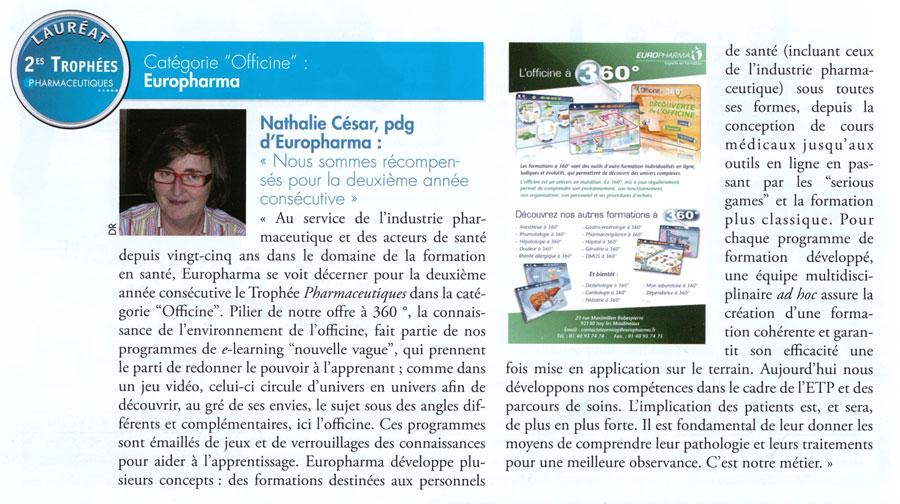 Article paru dans la revue Pharmaceutiques n°223 - janvier 2015