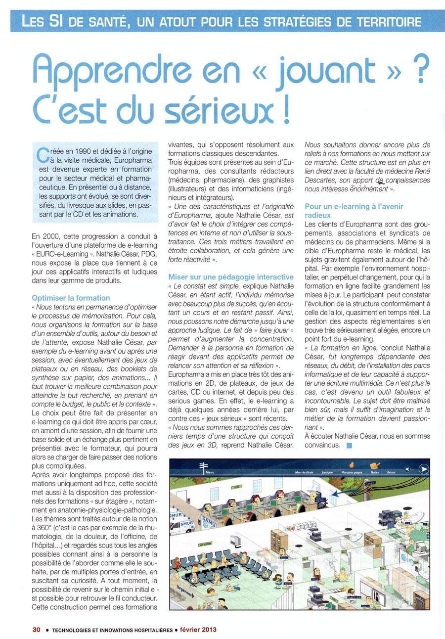Article paru dans la revue Technologies et Innovations Hospitalières n°16 - février 2013